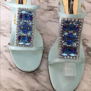 Constance Bastro Blue Statin Heels